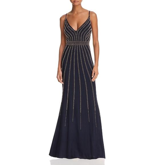 AQUA Dresses & Skirts - Avery G LONG V NECK W BEADING GOWN